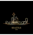 Gold silhouette of Seattle on black background vector image vector image