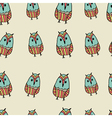 Seamless pattern with cute funny hand drawn owls vector image