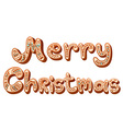 Christmas gingerbread text letters sign isolated vector image