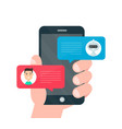 man person hand chatting on cellphone vector image
