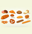 sliced butterbrot bread and baguette cake vector image