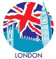 London big ben with union jack flag background vector image