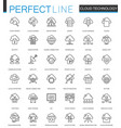 cloud data technology services thin line web icons vector image
