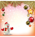 Abstract Christmas red gold greeting with snowman vector image