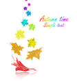 Rainbow Maple Leaves vector image vector image