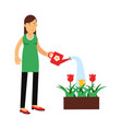 beautiful young brunette woman watering flowers in vector image
