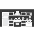 Black white color kitchen interior vector image