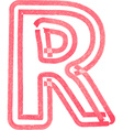 Capital letter R drawing with Red Marker vector image