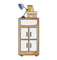grated cabinet archive with books and lamp desk vector image