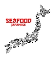 Japanese seafood sushi forming map of Japan vector image