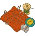 Spool of Thread Button Thimble Needles and vector image