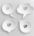 Up White flat buttons on gray background vector image