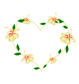 Yellow Hibiscus Flowers in A Heart Shape vector image