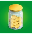 moneybox with golden coins vector image vector image