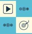 multimedia icons set collection of gramophone vector image