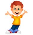 Happy boy cartoon posing vector image vector image