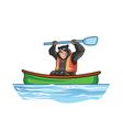 Bear in Canoe vector image vector image