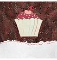 Cute retro Cupcake in frame EPS 8 vector image
