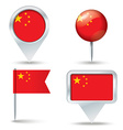 Map pins with flag of China vector image