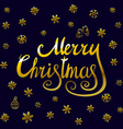 Merry Christmas - gold glittering lettering design vector image