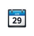 June 29 Calendar icon flat vector image vector image