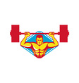 weightlifter body builder lifting weights retro vector image