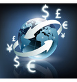 arrows around planet earth and world currency vector image