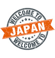 welcome to Japan orange round ribbon stamp vector image