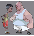 Cartoon comic thin man and the fat man talk vector image