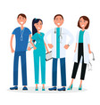 four medical workers standing and smiling graphic vector image