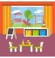 Kindergarten classroom preschool room interior vector image