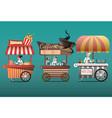 street coffee cart popcorn and hotdog shop with vector image