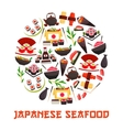 Banner with sushi rolls japanese cuisine vector image vector image