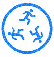 running men rounded grainy icon vector image