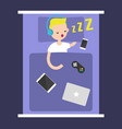 new technologies addiction young blonde boy vector image vector image