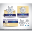Greeting cards with silver ornate snowflake vector image vector image