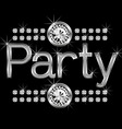 vector thin metal diamond word party big and small vector image