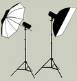photographic flash studio lighting silhouette vector image