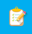 clipboard icon with checkmarks and pencil vector image