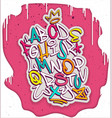 colorful handwritten graffiti font alphabet vector image