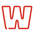 letter w plastic tube icon cartoon style vector image