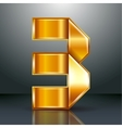 Number metal gold ribbon - 3 - three vector image