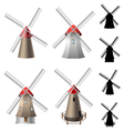 Windmill set vector image vector image