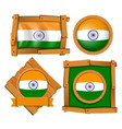 india flag on round and square badges vector image