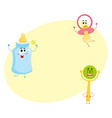 funny baby pacifier milk bottle and rattle toy vector image