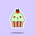cup cake sweet kawaii character vector image