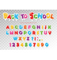 back to school balloon paper cutout font for kids vector image vector image