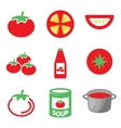 color tomato icons set vector image vector image
