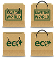 Brown Paper Shopping Bag Set with ECO and SAVE THE vector image