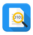 Document magnifying app icon with long shadow vector image